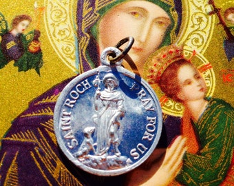 SAINT ROCH MEDAL Antique Vintage Religious Patron Of Dogs