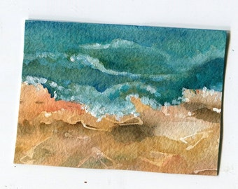 ACEO Original Rocky Seascape Watercolor Painting, small ocean artwork, Beach decor, waves watercolor painting original, SharonFosterArt