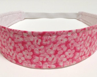 Headband Girls Child's Children's   -  Pink & White Tiny Floral Print  -  Reversible Fabric - CHLOE