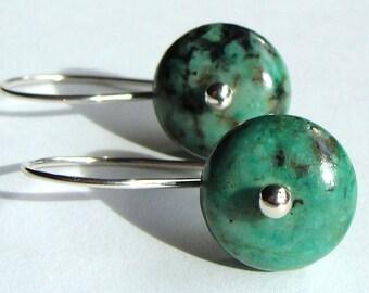 Turquoise Earrings Drop Earrings African Turquoise Jasper Dangle Earrings in Sterling Silver Earrings