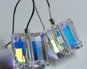 Square Stairway AB Crystal 14mm Swarovski Crystal Dangle Earrings in Sterling Silver Drop Earrings Crystal Earrings