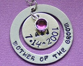 Mother of the Groom Necklace - Wedding Gift - Swarovski Birthstone - Hand Stamped Pendant