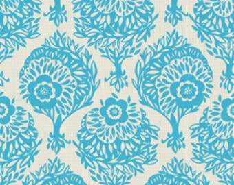 SALE Home Decor Woodcut by Anna Maria Horner, Innocent Crush, Blue Home Dec Fabric One Yard Cotton Textile Yardage.