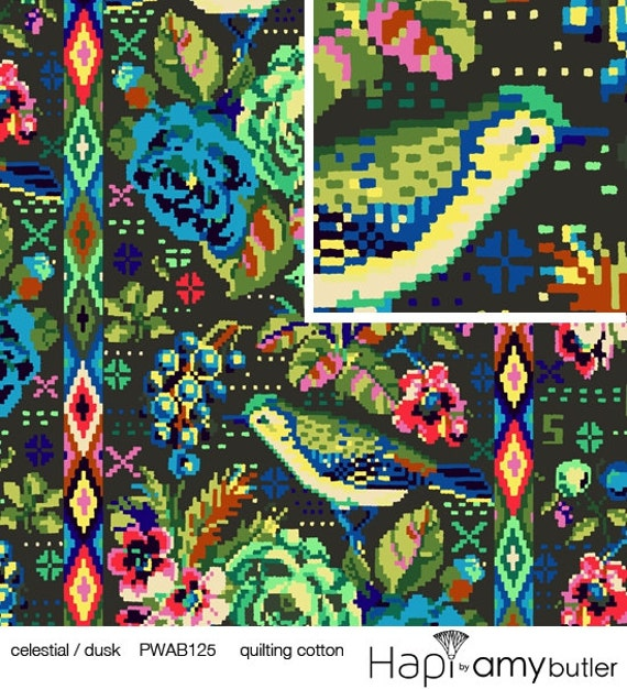 Hapi by amy butler celestial in dusk 1 yard by the by for Celestial fabric by the yard