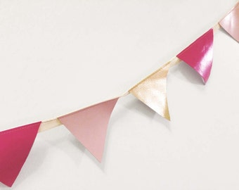 CLEARANCE Gold Mini Leather Bunting