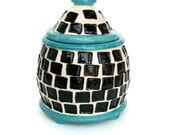 Ceramic Jar with Squares Black White Turquoise