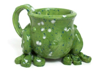 Ceramic Frog Leg Mug with Warts by JMNPOTTERY - Made to Order