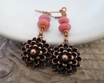 Copper Earrings, Flower Earrings, Rose Pink, Beaded Earrings, Dangle Earrings, Lampwork Glass, Mum Flowers, Copper Flowers