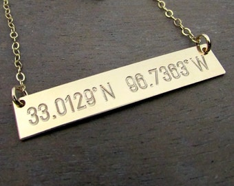 Gold Bar Necklace, Engraved GPS Coordinates, Location, 14K GF Front/Back Personalized Customized Necklace