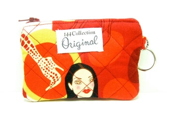 Girls in Red Quilted Wallet, Keychain Wallet, Red Wallet, Quilted Coin Wallet, Red Coin Purse, Keyring Wallet, Quilted Bags, Fabric Pouch