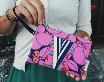 Navy Blue Bloom Wristlet, iPhone Wristlet, Wallet Wristlet, Women's Wristlet Purse, Zipper Wallet