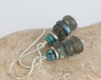 Labradorite Turquoise Hill Tribe Sterling Silver Dangle Earrings // Handcrafted Jewelry // luluglitterbug