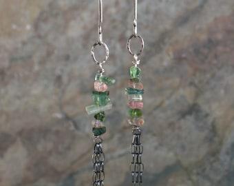 REDUCED- Watermelon TOURMALINE earrings, Tourmaline TASSEL earrings, sterling silver, linear earrings