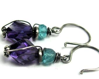 Amethyst, Blue Apetite, Hill Tribe, Sterling Silver Earrings