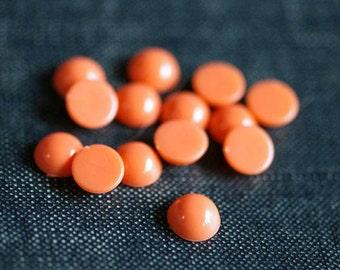 2for1 CLEARANCE - Vintage 7mm Round Acrylic Flatback Cabochons - Coral Orange - 32pcs - Round Coral Cabochon, Orange Cabochon