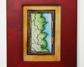 "Coastline #1 Abstract Map / 2.5"" x 3.5"" Mini Original Watercolor Painting / Watercolor Map Art"