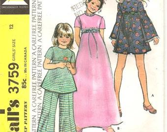 McCalls 3759 Girls Dress, Tunic, Pants Pattern size 12