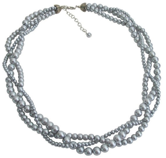 3 Strand Pearl Necklace  Gray Twisted Pearl Necklace Bridal Party Necklace Gray Pearls Twisted Strands Free Shipping In USA