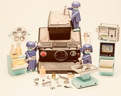 We Have the Technology... We Can Rebuild Him... sx70, polaroid, camera, toy photography, playmobil, mini figs, vintage, nerd, decor, fineart