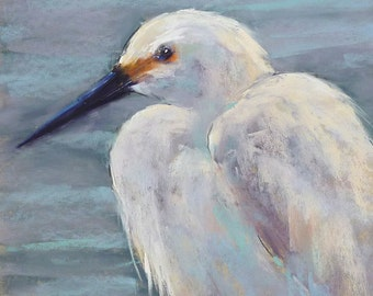 SNOWY EGRET Shore  Bird painting Coastal ART Original Pastel Painting