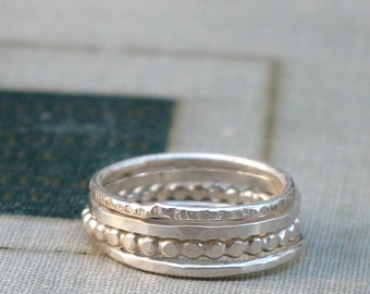 Silver Stacking Rings- set of 4 textured bands
