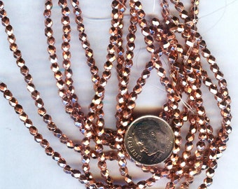Fire Polished Faceted Czech Glass Round Beads Copper Penny 3mm 50pcs