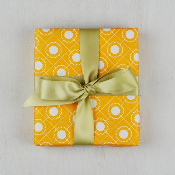 Grid Wrapping Paper, Orange 4pcs