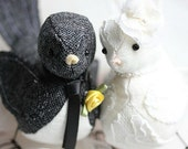 Wedding Love Birds cake topper - Bird Cake Topper - Black Tweed and Ivory linen Bird Cake Topper - Woodland - MADE TO ORDER