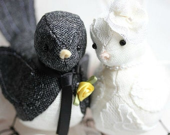 Wedding Love Birds cake topper - Bird Cake Topper - Black Tweed and Ivory linen Bird Cake Topper - Woodland - MADE TO ORDER