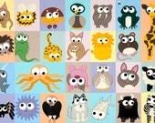 Alphabet of Animals, A - Z Alphabeasts Print:  Aardvark - Zebra, cute animal nursery art, cartoon creatures on pastel colour background