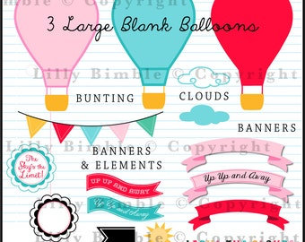 60% off Hot Air Balloons clipart with bright colors Up, Up, and Away, INSTANT Download