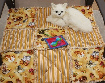 Cat Blanket, Cat Quilt, Cantip Blanket, Blanket With Toy, Fabric Cat Bed, Designer Cat Bed, Cat Bed, Luxury Cat Blanket, Cat Mat, Pet Mat