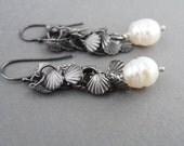 Gun Metal Silver Shell Dangle Pearl Earrings, Dangle Earrings, Long Earrings, Sea shell Earrings, Pearl Earrings