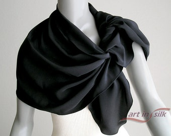 "Black Silk Scarf Shoulder Wrap, Natural Silk Crêpe Solid Black Shawl, Petite Coverup S XS M Stole, Artisan Handmade 18""x48"", Artinsilk."