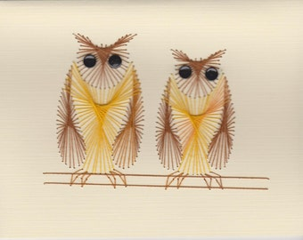 Hand Embroidered Blank Owls Greeting Cards Set
