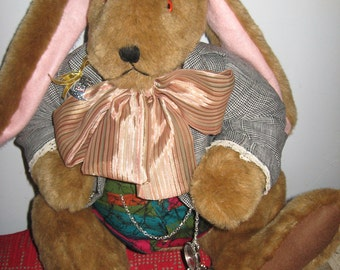 SALE Handcrafted Large Grumpy Easter Bunny 27 Inches
