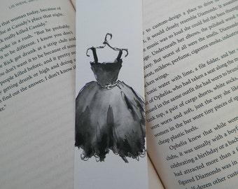 Fashion Lil Black Dress Watercolor ACEO Bookmark Art Original Painting by Artist Debra Alouise