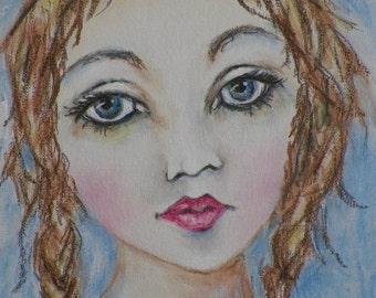 Girl in Braids Art Original Painting by California Artist Debra Alouise