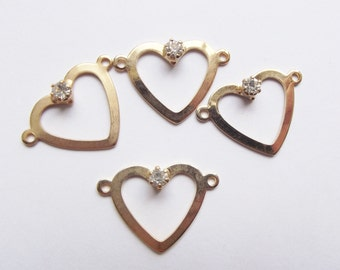 Vintage gold plate heart and rhinestone charms