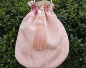 Purse reticule handbag drawstring bag peach tassel braid