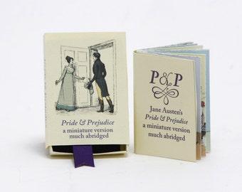 Jane Austen Pride & Prejudice, Miniature Book, Darcy, Book Club Gift, Literary present, Book Lover, Novel Reader, Yellow, Matchbox art, gcp4
