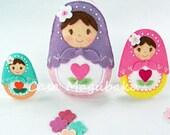 PDF Pattern - Matryoshka Doll Felt Pattern - Felt Babushka Doll Sewing Pattern - Ornament or Embellishment - 3 Sizes - Christmas Decoration