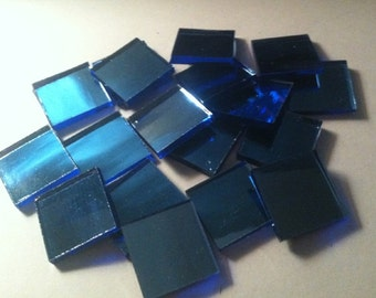 25 - 3/4 inch Blue Hand Cut Glass Mirror Mosaic Tiles, Specturm Silvercoat