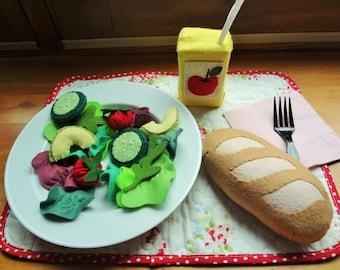 Felt Play Food Bread and Salad set