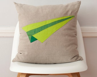 Green Paper Plane Origami Silk and Linen Pillow - 18 Inches TWO LEFT!