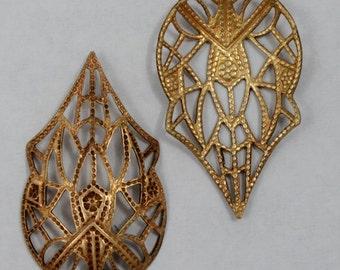 20mm x 30mm Pear Shape Art Nouveau Filigree ( 2 Pcs) #1571