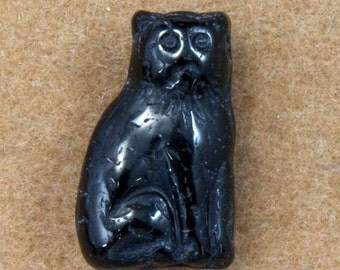 15mm Black Sitting Cat Bead (10 Pcs) #2803