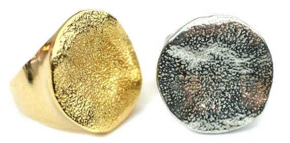 Birdhouse Jewelry - Silver or Gold Hammered Disk Ring