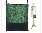 CLEARANCE Peacock Feather cross body purse,  small shoulder bag, mini pouch sling bag,   iPhone 6 Plus Case, green orange blue RTS