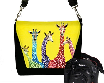 Clara Nilles DSLR Camera Bag Purse Cute Camera Case for Women Zipper Padded  Jelly Bean Giraffes  yellow purple red blue green pink RTS
